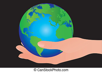 earth over hand - green and blue earth and hand isolated...