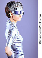 generation - Shot of a futuristic young woman wearing...