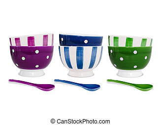 Six colorful bowls and spoons on white background - Six...