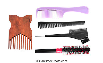 Different combs on white background