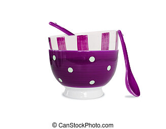 Purple bowls and spoons on white background