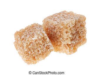 Two brown lump cane sugar cubes, isolated on white This shot...