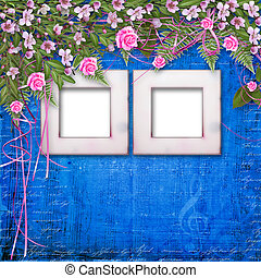 Writing abstract background with paper and floral beautiful...