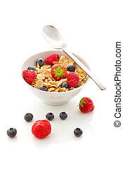Corn flakes with berries - Isolated - photo of delicious...