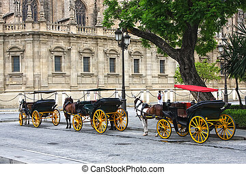 Horses and carts outside of Seville cathedral, Seville,...
