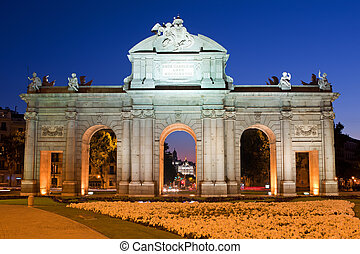 Puerta de Alcala, Madrid, Spain - Night view of the monument...