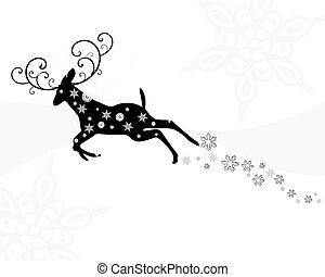 Leaping Deer - christmas concept flying reindeer