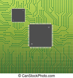 Circuit board with chips - Circuit or mother board with...