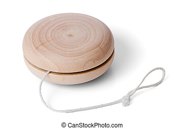 Wooden yo-yo toy isolated on white background