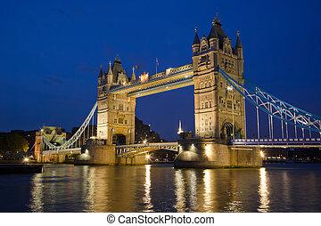 Tower Bridge from the North Bank at dusk, London, UK