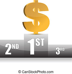 digital illustration of dollar win in white background