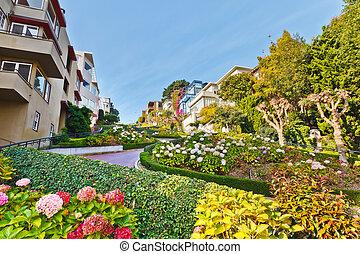 Lombard Street in San Francisco - Famous Lombard Street, San...