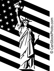 Statue of Liberty and U.S. flag - Statue of Liberty in the...