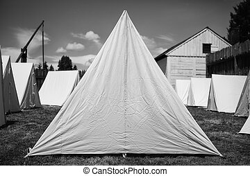 Old Army Tents - Black and white image of 19th century...