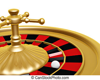 Roulette wheel of casino on white background