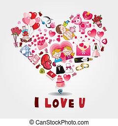 caricatura, Amor, cartão