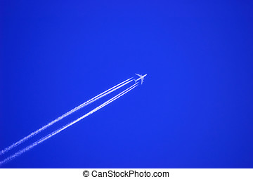 Jet plane. - Jet plane at high altitude in the deep blue...