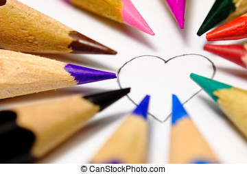 Color of love. - The heart contour, which can paint everyone...