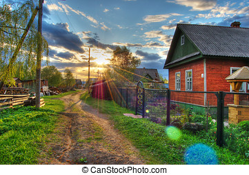 Nice evening. - Evening on a village. HDRi - compilation....