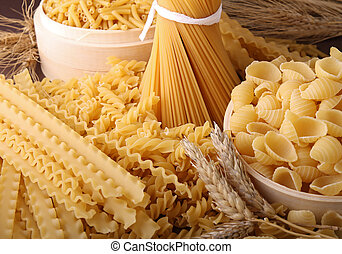 close up on assorted of pasta