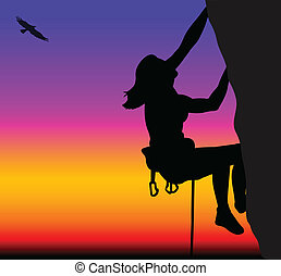 Rock climbing woman - vector