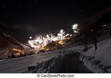 New year`s eve in Austrian mountains