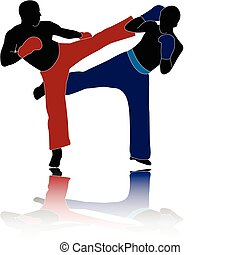 kickboxers - illustration of kickboxers - vector