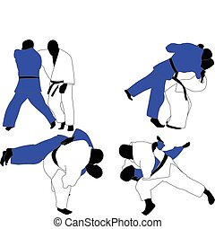 judo fighters - vector illustration