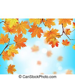 Red and yellow leaves against blue sky.EPS 8