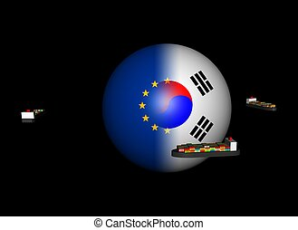 Container ships and EU Korea flag sphere - Container ships...