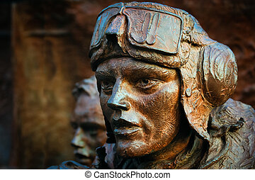 Close-up of part of the Battle of Britain monument on the...