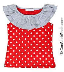 red baby clothes with polka dots