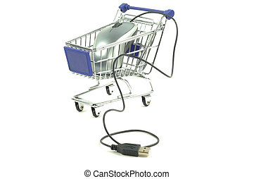 The shopping card and computer mouse - Shopping card with...