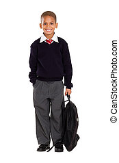portrait of male elementary pupil - full length studio...