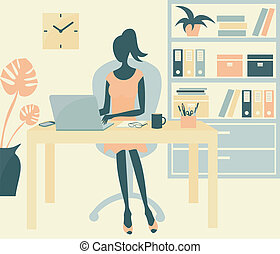 Ofice Girl - A young woman working in an office environment