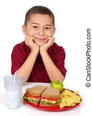 kid ready to eat a sandwich lunch - eight-year-old boy ready...