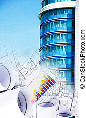 building and blueprints, business collage