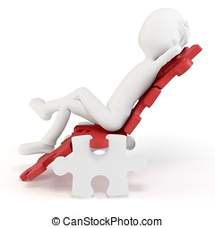 3d man relaxing in a puzzle chair isolated on white