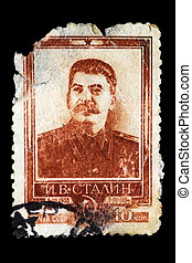 poste, estampilla, stalin, retrato