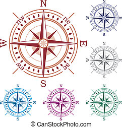 vector set of colorful compasses