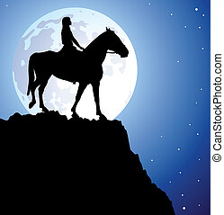 girl on the horse on top of the mountain - vector...