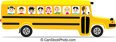 school bus and children - vector school bus and children