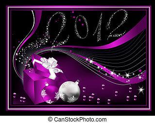 Happy New Year 2012 background violet and silver