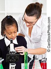 teacher helping primary schoolgirl
