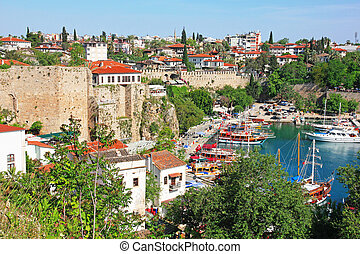 Turkey. Antalya town. View of harbor - Turkey. Antalya town....