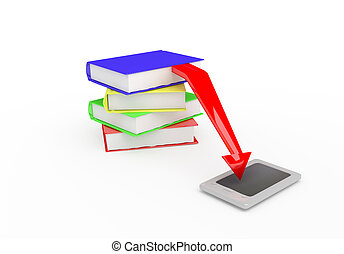 e-reader 3D render - e-reader with stack paper books...