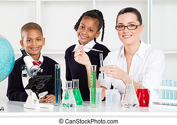 primary school students and teacher in science class
