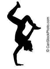 silueta, Adolescente, niña, bailando