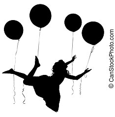 Silhouette Girl Child Riding Baloons - Silhouette of girl...