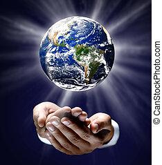 hombre, tenencia, encendido, tierra, globo, el suyo, Manos